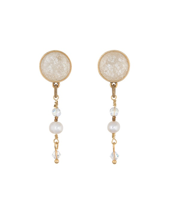 Lace & Pearls Dangle Stud Earrings, Made with your Wedding Dress Fabric