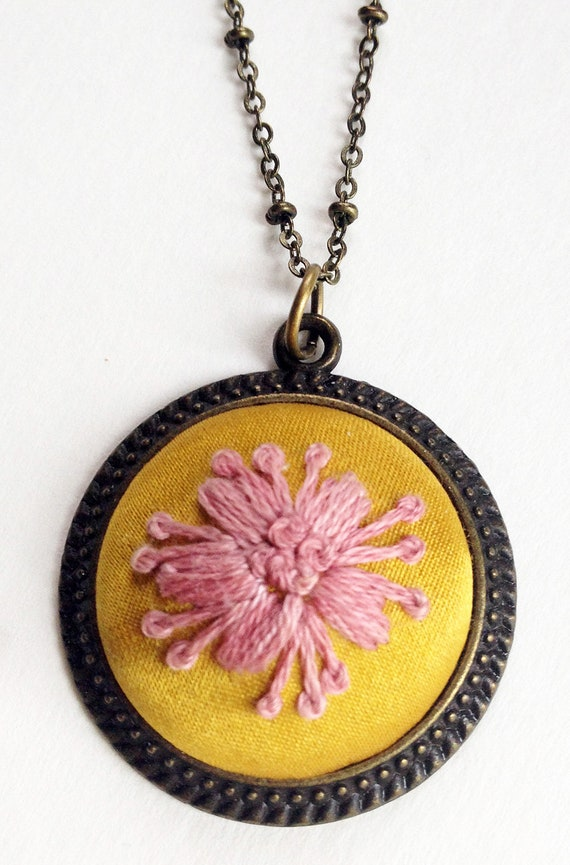 Pink & Yellow Embroidered Flower Necklace