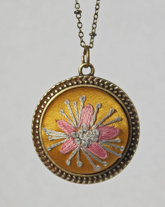 Necklace Silk Flower / Embroidered Floral Jewelry / Teen Gift / Gift for Teenage Girl / Friendship Necklace / Hand Stitched Pendant