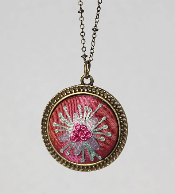 Pink Flower Necklace / Floral Embroidery / Embroidered / Hand Stitched / Vintage Style Jewelry / Antiqued Brass Necklace / Gift for Her