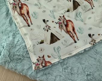 Horse Flannel Swaddle Receiving Blanket  Aztec  Cowboy Nursery