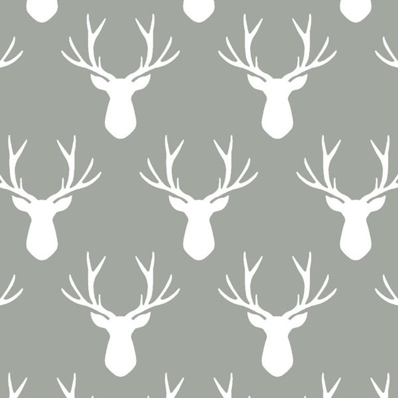Stag Silhouette in Sage Fitted Crib Sheet Contoured Changing Pad Cover Boppy Cover Pillowcase Woodland in Earth Deer Antlers Green Gray