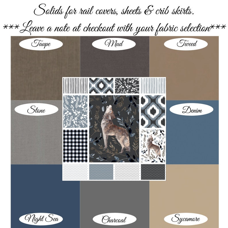 Boys Wolf Crib Bedding Minky Baby Blanket Crib Sheet Skirt Rail Cover Patchwork Quilt Changing Pad Boppy Pillow Cover Woodland Curtain Panel