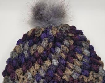 Crochet Beanie with Faux Fur Pom Pom, Crochet Beanie, Faux Fur Pom Pom, Purple tones, Gray Pom Pom