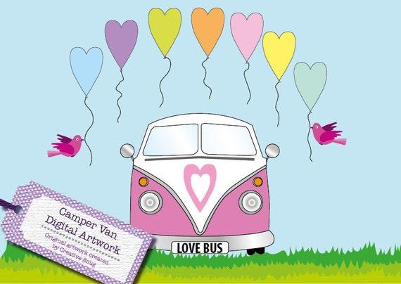 Wedding Love Retro Vw Camper Van Clipart Build A Scene Etsy