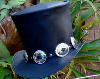 9e6f1fae1b3867 Black leather hand crafted Slash Tribute Guns 'N Roses Hard Rock Band  Guitar Player Top Hat Australian Made