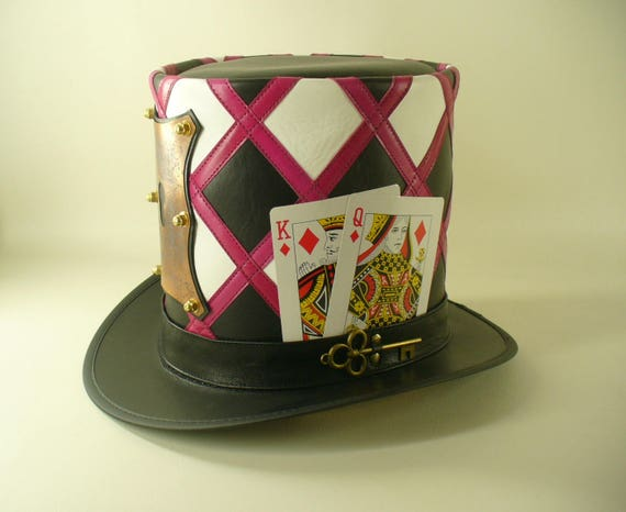 f4d38b79dd4 Mad hatter s leather and copper lock and key tall Top Hat