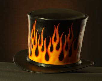 Black leather and flames print Rockabilly Top Hat