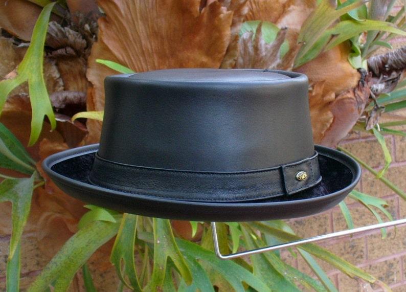 7e4587bd480 Black leather English style Pork Pie Hat   Jazz   SKA   Rocky