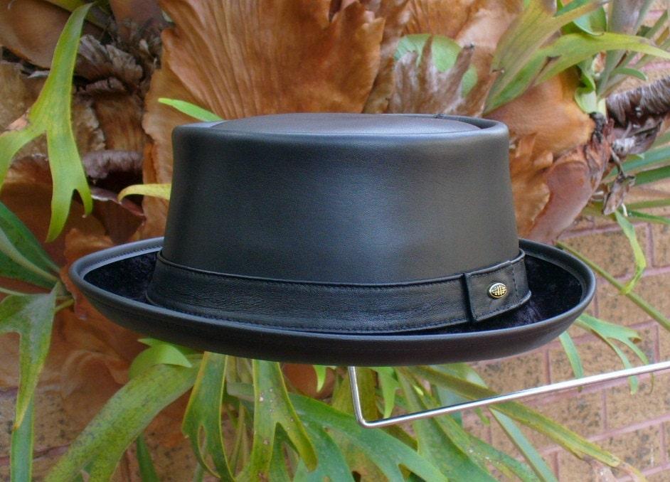 Black leather English style Pork Pie Hat   Jazz   SKA   Rocky  224fc723322