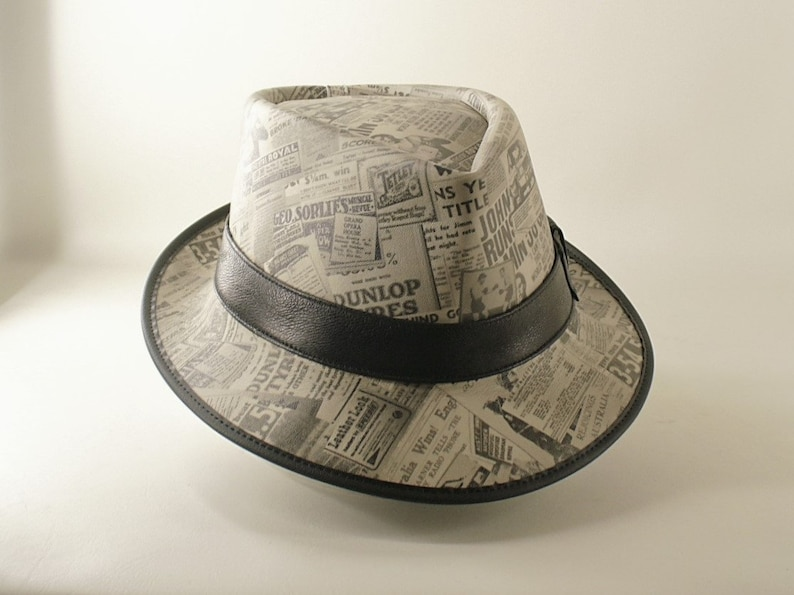 a1d7e8743 Genuine cowhide leather newspaper print Fedora / Gangster / Michael Jackson  style smooth criminal Hat