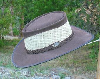 Brown suede leather & mesh Australian Bush Hat / Outdoors / Golfers / Bowlers / Gardener's Hat