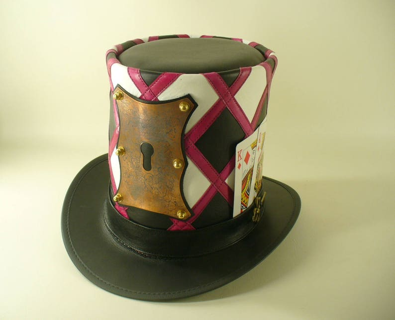 Mad hatter/'s leather and copper lock and key tall Top Hat masterpiece
