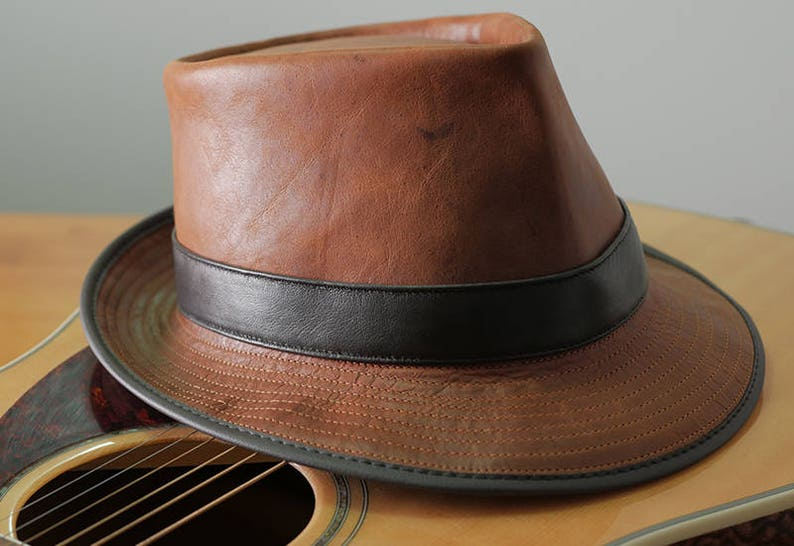 240b01e50 Tan kangaroo Leather Godfather Style Gangster Muso Band leader Hat / Fedora  Hat