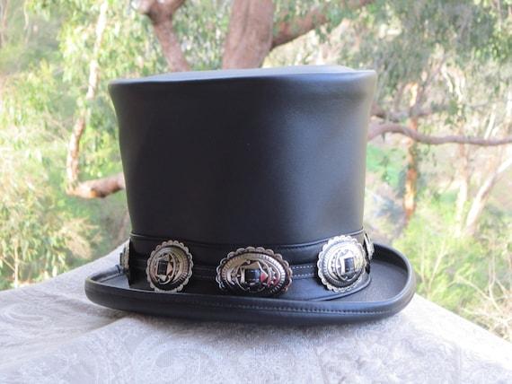 Rocker Black Leather Slash Style Top Hat Conchos band Replica Fans VERY HIGH