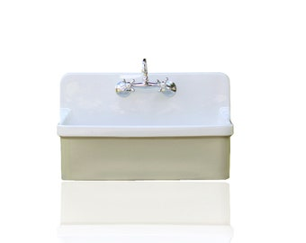 Vintage Style High Back Farm Sink Apron Kitchen Utility Sink Package  Vitreous China Kohler Gilford U2013 French Grey