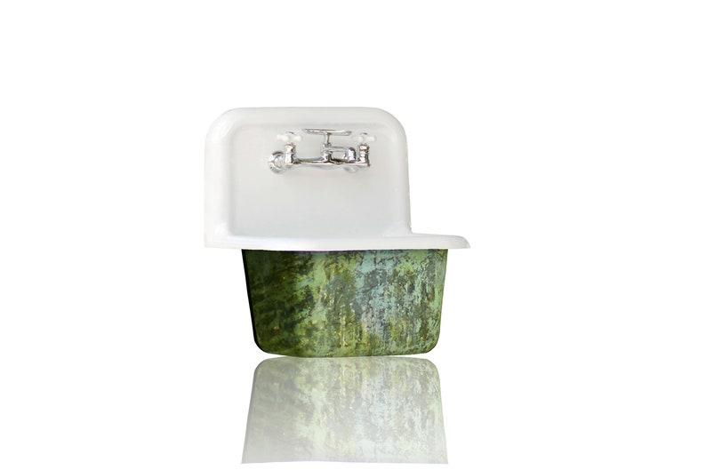 Havisham New High Back Utility Sink Trompe L/'Oeil Antiqued Cast Iron Porcelain Lagniappe Wall Mount Sink Package