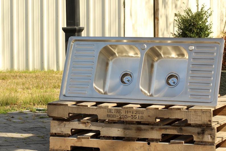 304 Stainless Steel Vintage Style Farm Sink Stamped Metal Double Drainboard Basin Kitchen Sink