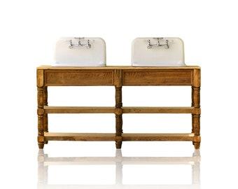Acadian Style 72u201d Reclaimed Wood Double Bath Farm Sink Vanity Package Cast  Iron High Back