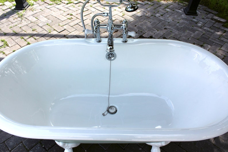Mint Green 60\u201d Antique Inspired Double Ended Cast Iron Porcelain Clawfoot Bathtub Package Original Finish