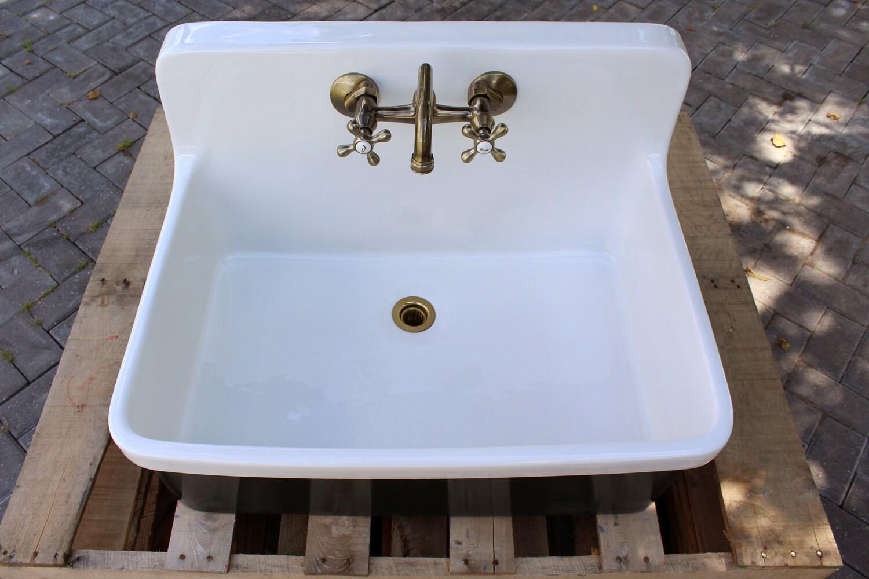 Vintage Style High Back Farm Sink Apron Kitchen Utility Sink Package ...
