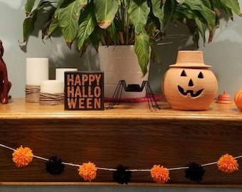 Rustic Halloween Pom Pom Garland / Orange and Black Garland