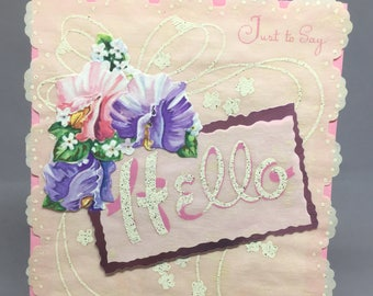 Vintage Greeting Card Hello Flowers Pink Layered Paper Craft Scrapbook New Old Stock
