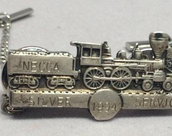 84b2255c0c83 Vintage Train Pin Necca Silver Service 1994 Personalized Engraved Railroad  Tie Tack