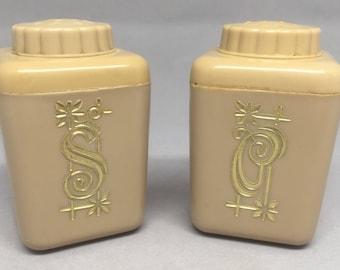Vintage Lustro Ware Salt & Pepper Shaker Set Mini Brown Tan Gold