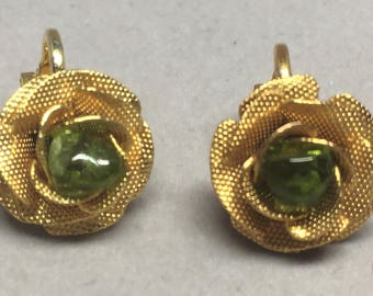 Vintage Rose Earrings Gold Tone Clip On Green Stone Center Upcycle Costume Jewelry