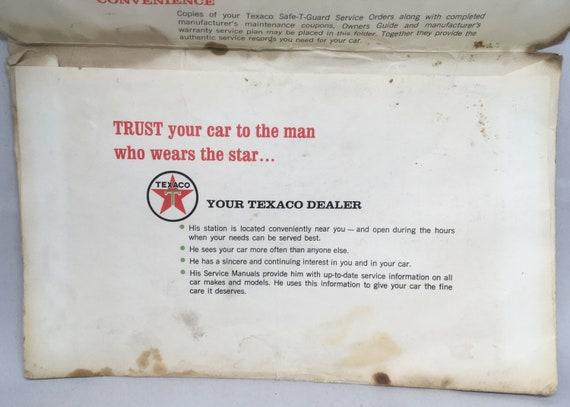 Vintage Texaco Safe-T-Guard Service New Car Warranty Record Envelope  Automotive Ephemera