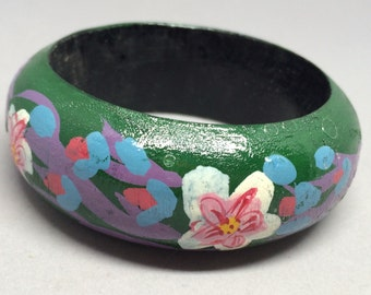 Vintage Wooden Bangle Painted Flowers Green Purple Blue