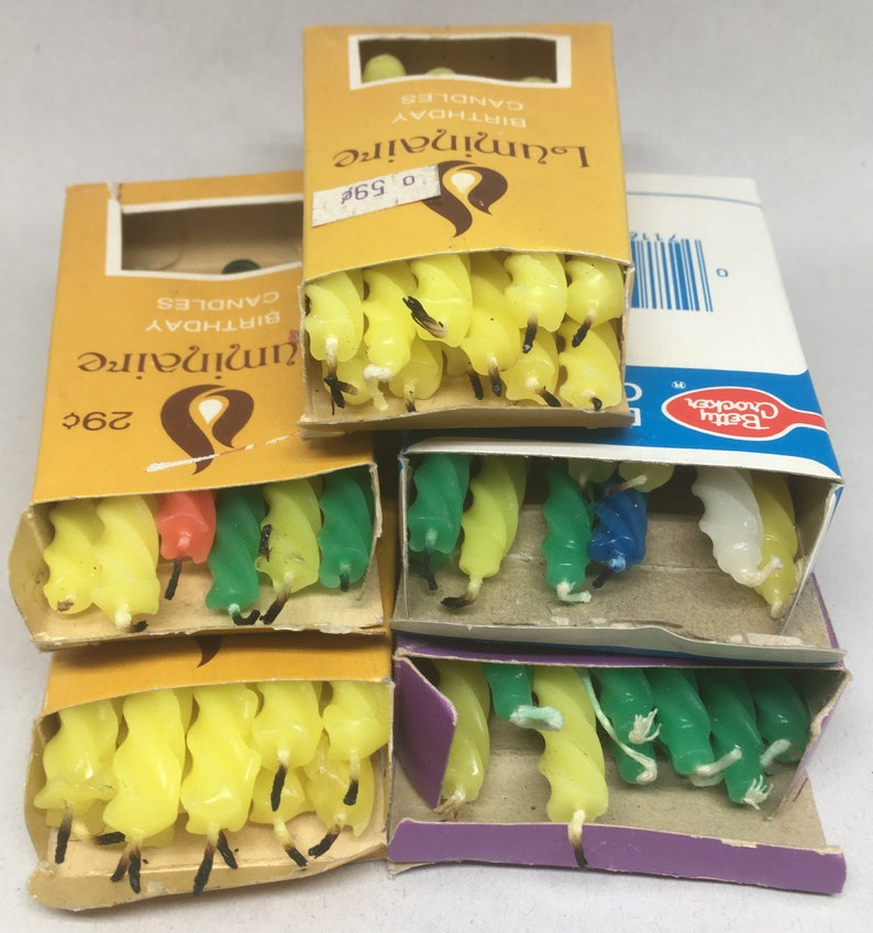 Vintage Party Candle Lot Cake Decorating Twist 3.5 46 Pieces Birthday Craft Project