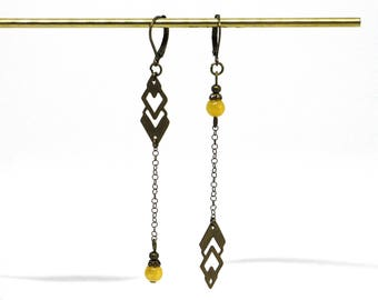 Erin brass and stone asymmetric earrings