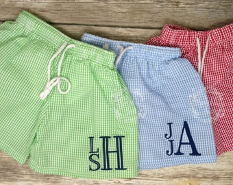 c8c63a5f4 Boutique Monogrammed Seersucker Boys Swim Trunks; swim suit, bathing suit, boys  trunks, gingham, red, blue, green