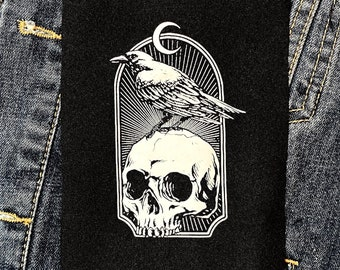 Crow and Skull Patch • punk patch • patches • punk patches • sew on patch • patches for jackets • patches for jeans • black patch