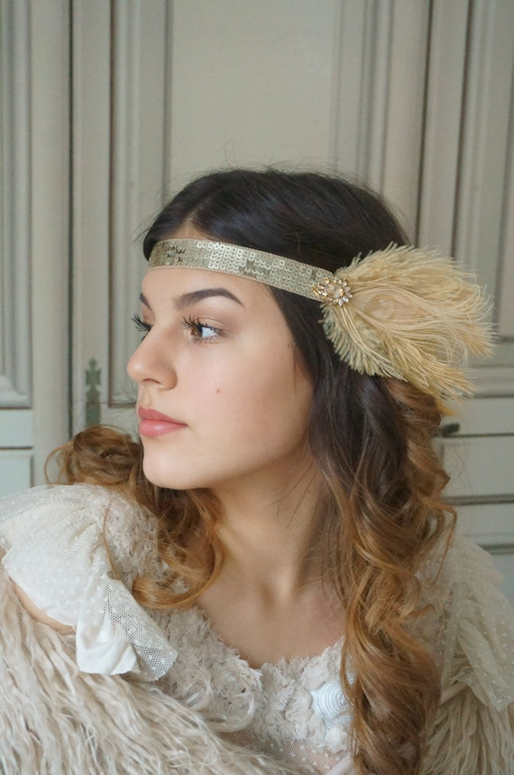 SATIN ALICE BAND WITH LARGE  SEQUIN BUTTERFLY OR SEQUIN PATCH 1920/'S GATSBY