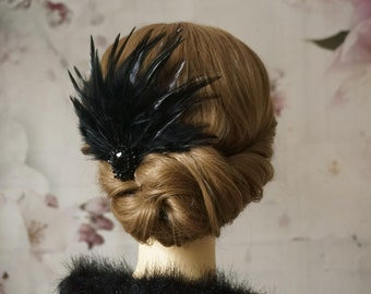 Hair Jewelry Fascinator 20's Flapper Black Feathers Headpiece Gatsby Party headpiece 20s