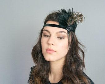 Flapper Hairband 20s Feathers black art deco Headdress noble festive Gatsby Haatschmuck