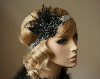 Flapper hairband 20s lace hair jewelry sequin ribbon silver black Gatsby party headdress feathers