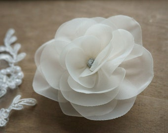 Bride hair flower Organza flower for hair hair jewelry ivory many colors romantic headdress