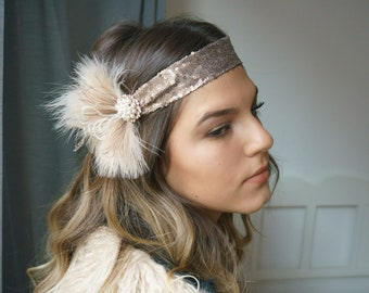 Hair jewelry sequin flapper hairband 20s nude rosegol beaded brooch feathers Gatsby party headpiece art deco
