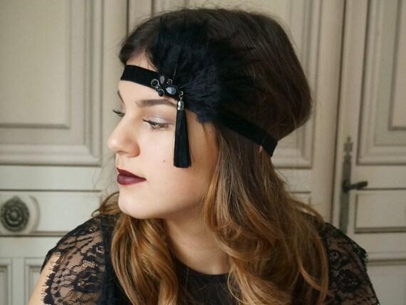 großer Lagerverkauf meistverkauft 2019 authentisch Flapper Haarband 20 er Jahre schwarz headband 20's Kopfschmuck Brosche  headpiece