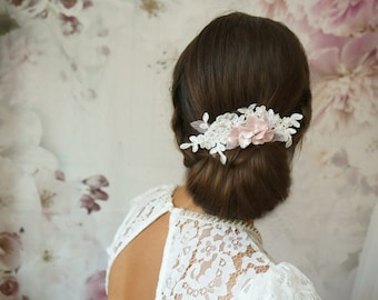 """Bridal Laces Fascination """"debbie"""" soft pink flower lace ivory head jewelry elegant and delicate hair comb wedding"""