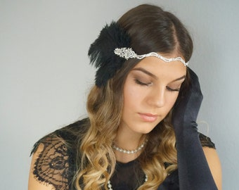Rhinestone hairband hair accessory 20s black silver flapper headpiece 20s feathers Gatsby party headpiece glamour