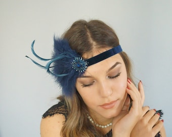 Opulent flapper hairband 20s dark blue Great Gatsby party headpiece feathers art deco