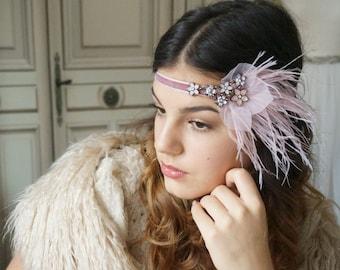 Hair decorations 20s al-pink flower bridal headdress wedding 20s headpiece great Gatsby party feathers