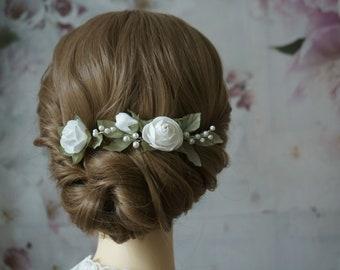 bride hair jewelry roses ivory green flowers hpochzeit hair comb hairpin lora braided hairstyle boho plug headdress bridesmaids