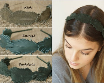 Real leather headband hair accessories feathers color choice green tones everyday autumn winter headpiece dark green emerald khaki plain and elegant