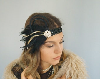 Hair Jewelry 20s Beaded Brooch Noble Sequin sequins Hairband Opulent headpiece black feathers Gatsby Party